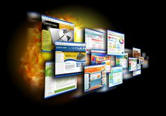 Stock Illustration of internet speed websites on black