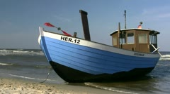 Fishing Boat on the Beach on Usedom Island - Baltic Sea, Northern Germany - stock footage