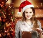 Stock Photo of girl opening a gift box