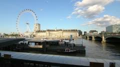 Stock Video Footage of Timelapse London Eye Embankment