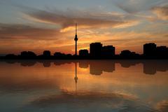 berlin skyline at sunset - stock illustration