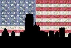 dallas skyline with flag and cash - stock illustration