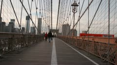Walking Over Brooklyn Bridge - stock footage