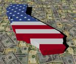 California map flag on american dollars illustration Stock Illustration
