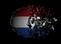 Dutch flag sphere breaking apart illustration Stock Illustration