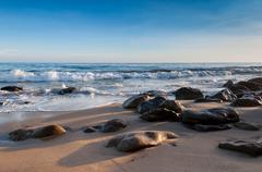 Malibu beach at sunset Stock Photos