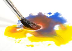 watercolor brush and paint - stock photo