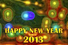 Happy New Year 2013 on festive background - stock illustration