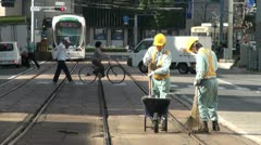 Track maintenance at the Hiroshima tram network Stock Footage