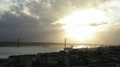 Lisbon city view with Tagus river and bridge 1 Stock Footage