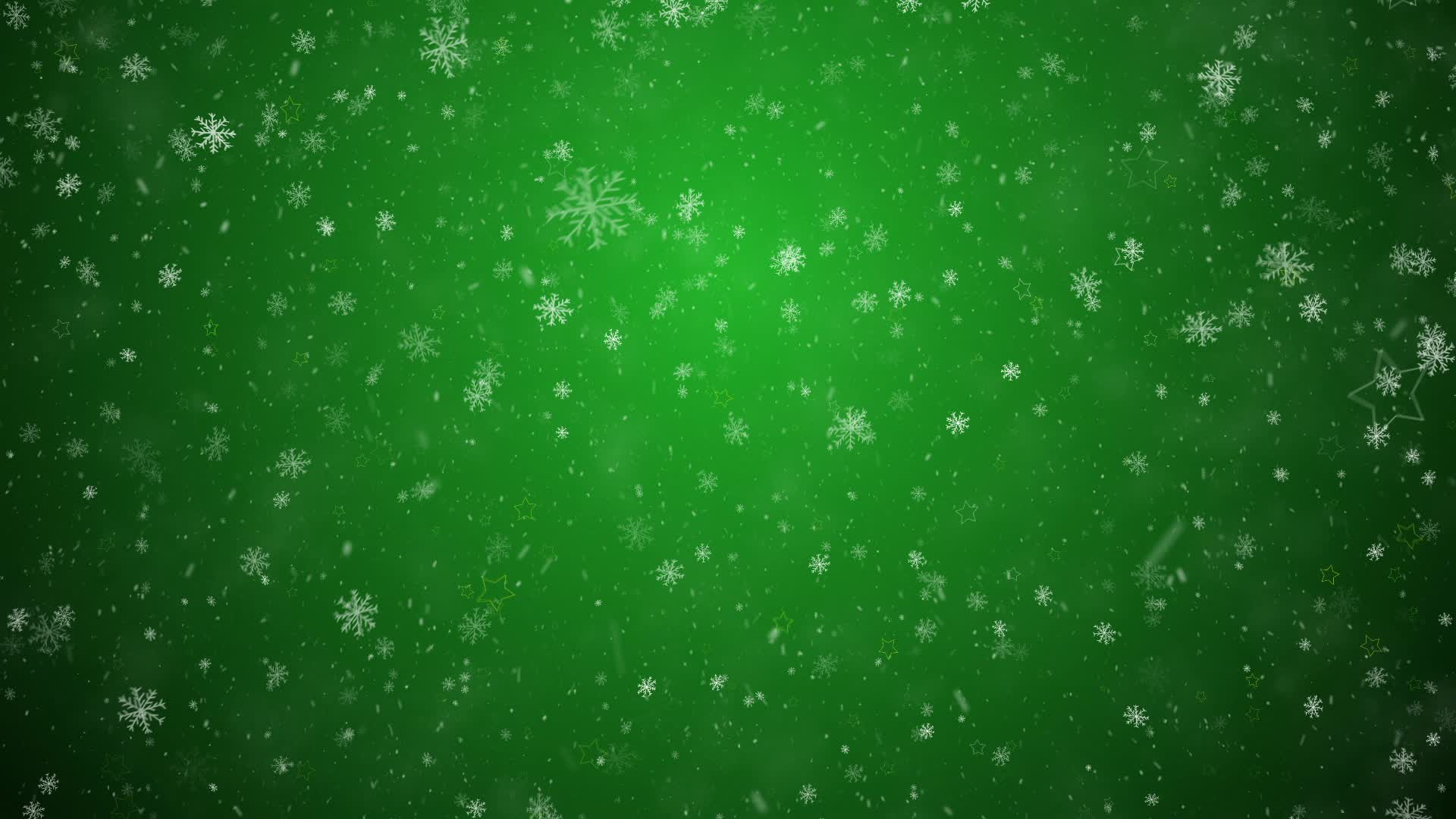 Falling Snowflakes And Stars On A Green Background Stock ...