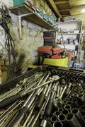 Stock Photo of garage interior with variety of tools