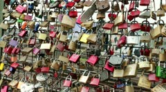 Locks of love in Cologne Germany pan Stock Footage
