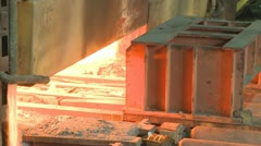 Hot steel from oven Stock Footage