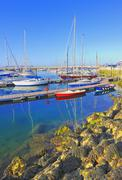 Yachts docked at howth harbor in ireland Stock Photos