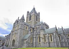 St. patrick's cathedral and green grass in dublin, ireland Stock Photos