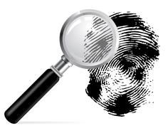 magnifier with scaned fingerprint - stock illustration