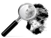 Stock Illustration of magnifier with scaned fingerprint