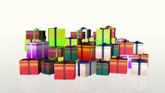 Magically piling up gift boxes, against white Stock Footage