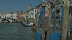 Pan to Grand Canal and Rialto bridge Stock Footage