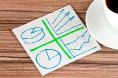 several diagrams on a napkin - stock photo