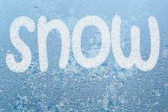 frost pattern and word snow - stock illustration