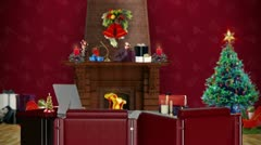 Office with Christmas decorations, seamless loop Stock Footage