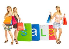 Stock Photo of sale - bags girls.