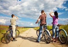 Family on bicycle ride Stock Photos