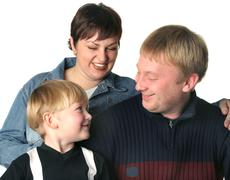 amicable family. mum the daddy and the son. - stock photo