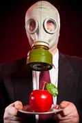 person in a gas mask - stock photo