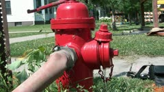 Red Fire Hydrant Leaking Water Stock Footage