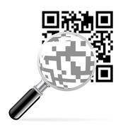 qr code with loupe - stock illustration
