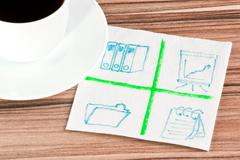 Stock Photo of office signs on a napkin