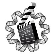 Vector clapboard and film strip Stock Illustration