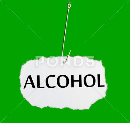 Stock Illustration of word alcohol on a fishing hook