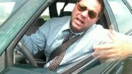 Stock Video Footage of Road Rage Businessman Angry
