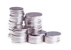 Stock Photo of five stacks of coins