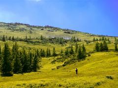 tourist climbs the hill - stock photo