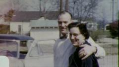 OLD Happily MARRIED COUPLE Suburban USA 1950s Vintage Retro Home Movie 5939 Stock Footage