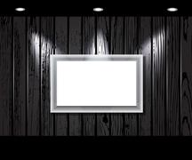 Stock Illustration of vintage wooden wall with a spot illumination.