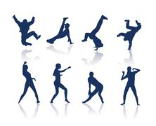 Dancing silhouettes Stock Illustration