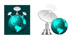 Satellite on earth Stock Illustration