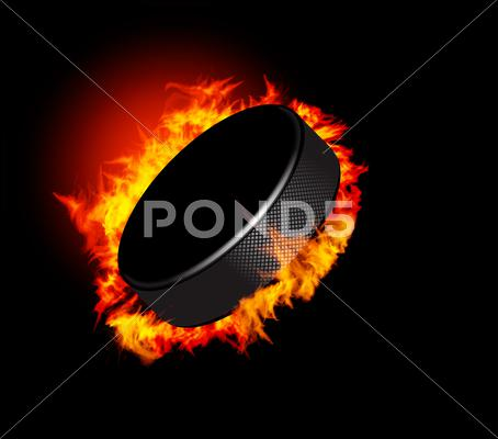 Stock Illustration of hockey puck in fire