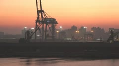 Egypt, Port Alexandria harbor and skyline early dawn, medium shot, dolly Stock Footage