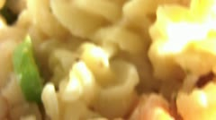 Shrimp & Pasta in Pan Stock Footage
