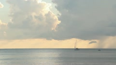 Yacht and storm, low clouds. Stock Footage