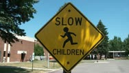 Slow Children Sign Stock Footage