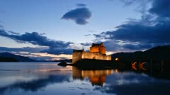 Scottish castle sunset- Timelapse Stock Footage