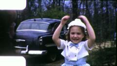 HAPPY LITTLE GIRL DANCING Twirls Dance 1960s Vintage Film Retro Home Movie 5947 Stock Footage